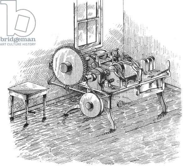 SCREW-MAKING MACHINE Cutting screws from rods, 1877.