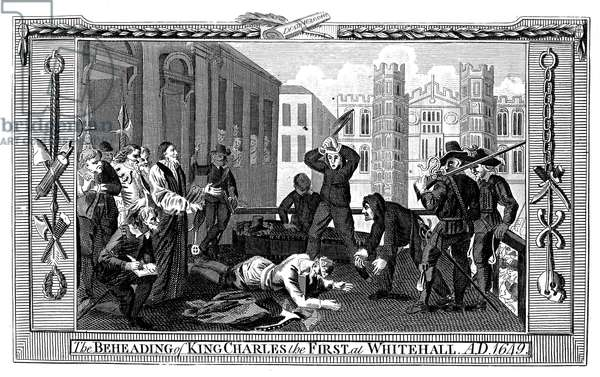 EXECUTION OF CHARLES I The execution of King Charles I of England at Whitehall, London, England, 30 January 1649. Copper engraving, English, 18th century.