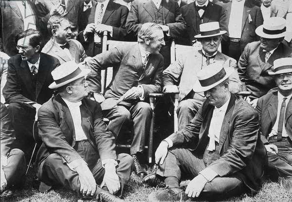 WOODROW WILSON (1912) Woodrow Wilson, then Governor of New Jersey, with members of the Notification Convention at Baltimore as the party's presidential candidate, at the governor's official summer residence of Sea Girt, New Jersey, July 1912.