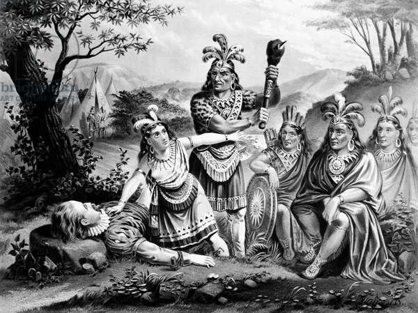 POCAHONTAS (1595?-1617) Native American Princess. Pocahontas saving the life of Captain John Smith, 1607. Lithograph, American, 1870.