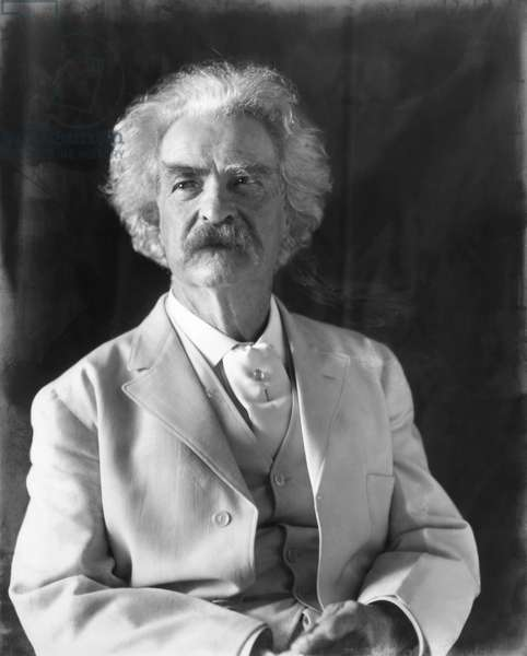 SAMUEL LANGHORNE CLEMENS (1835-1910). 'Mark Twain.' American humorist and writer. Photographed by Frances Benjamin Johnston, 1906.