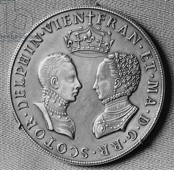 FRANCIS II (1544-1560) King of France, 1559-60. Silver medal commemorating the marriage of Francis II and Mary Stuart, minted in 1558, one year after their wedding.