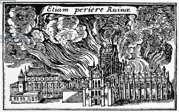 LONDON: GREAT FIRE, 1666 St. Paul's Cathedral, a volcano with molten lead from its roof running down like lava during the Great Fire of London, September 1666. Contemporary woodcut.