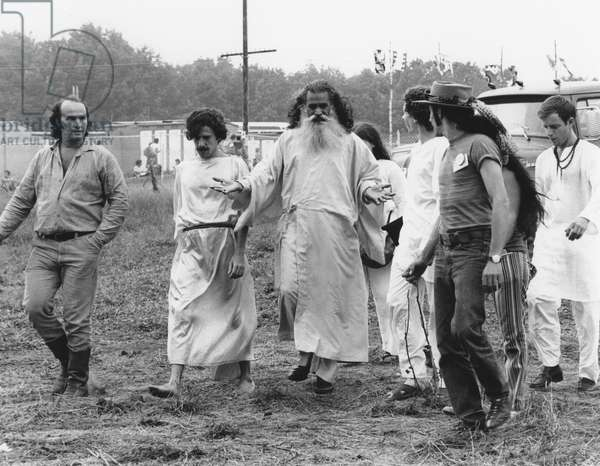 HIPPIE MOVEMENT, 1969 An Indian guru and his followers at the Woodstock festival.
