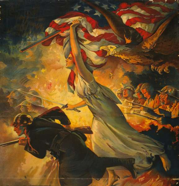 WORLD WAR I: POSTER, c.1918 American poster for war bonds featuring a soldier charging into battle accompanied by Liberty bearing a sword and flag. Lithograph by Edwin Howland Blashfield, c.1918.
