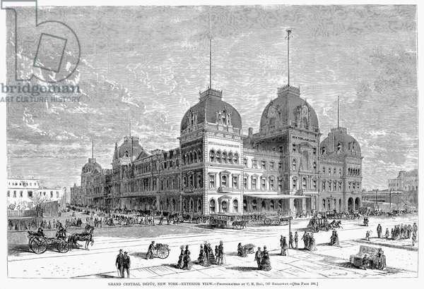 GRAND CENTRAL STATION, 1872 An exterior view of Grand Central Station at Fourth Avenue and 42nd Street, New York Ctiy, built 1869-1871. Wood engraving, 1872.