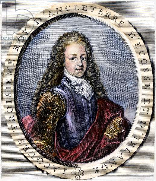 JAMES EDWARD (1688-1766) James Francis Edward Stuart. Known as the Old Pretender. Claimant to the British throne. Line and stipple engraving, French, 18th century.