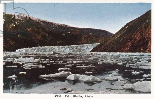 ALASKA: TAKU GLACIER View of Taku Glacier in Alaska. Postcard, American, c.1930.