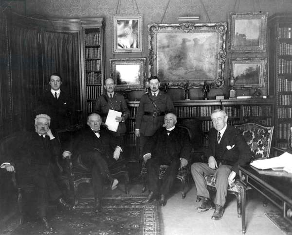 WORLD WAR I: BIG FOUR. The 'Big Four' in the Hotel Crillon, Paris, December 1918. From left to right are Vittorio Emanuele Orlando of Italy, Lloyd George of Great Britain, Georges Clemenceau of France, and President Woodrow Wilson of the United States of America.