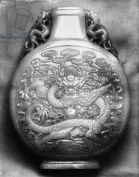 CHINA: PILGRIM BOTTLE Nephrite pilgrim bottle from the imperial summer palace during the reign of Ch'ien Lung. Ching Dynasty, 1735-1796.
