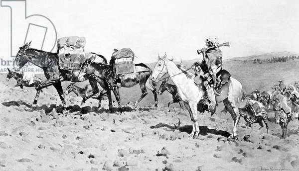 SANTA FE TRAIL: PACK TRAIN 'Pack Train to Santa Fe, 1820.' Painting, 1898, by Frederic Remington.