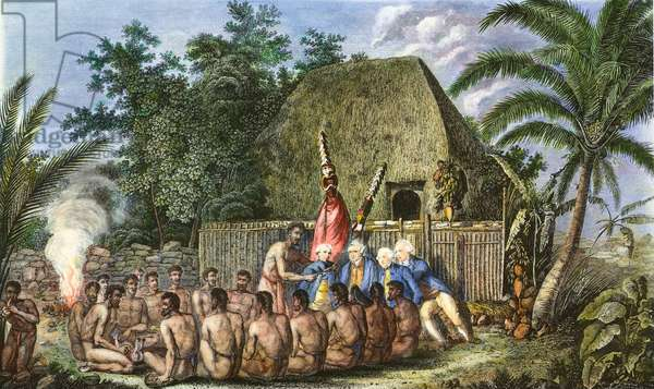 COOK: SANDWICH ISLANDS 1779 An Offering before Captain James Cook in the Sandwich (Hawaii) Islands, 1779: coloured  English engraving, 1784.