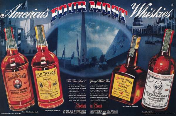 AMERICAN WHISKEY AD, 1939 American advertisement for Old Grand-Dad, Old Taylor, Mount Vernon, and Old Overholt whiskeys, 1939.