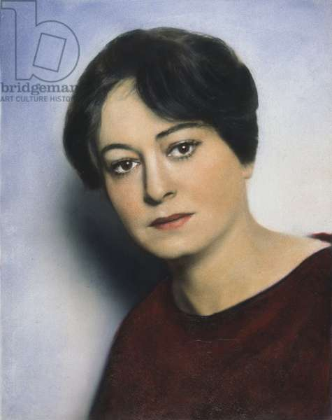 DOROTHY PARKER (1893-1967) American writer. Oil over a photograph, 1928.