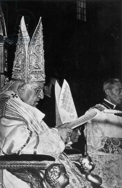 JOHN XXIII (1881-1963) Pope, 1958-1963. John speaking at the opening of the Second Vatican Council in St. Peter's, October 2, 1962.