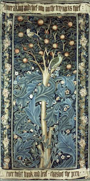 MORRIS: TAPESTRY, 1885 'The Woodpecker': high-warp tapestry, c.1885, by William Morris.