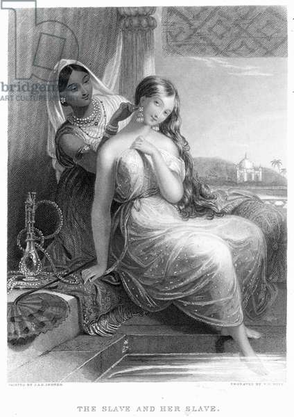HAREM 'A slave and her slave.' Line and stipple engraving after the painting by J.A.D. Ingres.