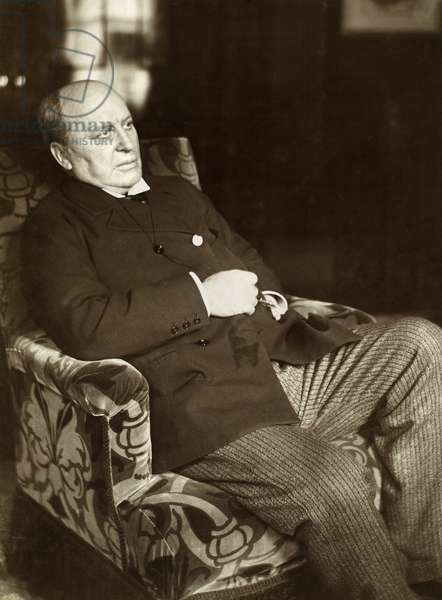 HENRY JAMES (1843-1916) American novelist. Photographed c.1905 in the library of Lamb House, his home at Rye, England.