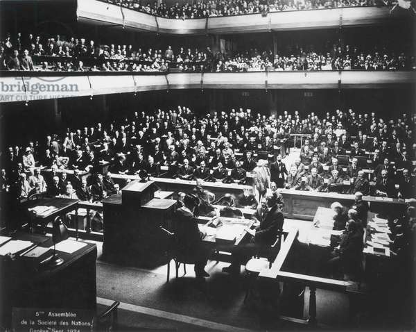 LEAGUE OF NATIONS, 1924 The Fifth Assembly of the League of Nations in session in the Hall of the Reformation, Geneva, Switzerland, September 1924.