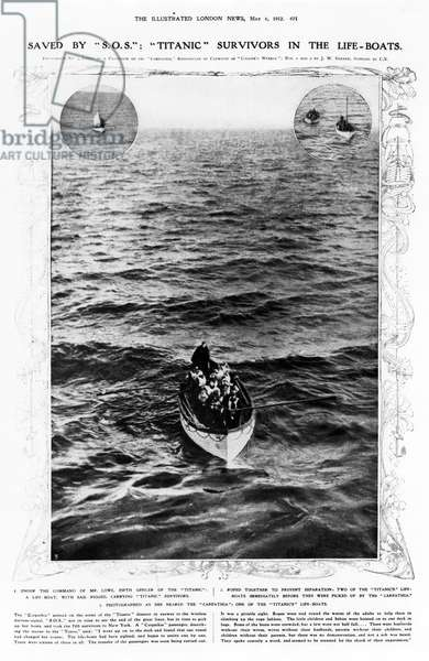 """TITANIC: LIFE-BOAT, 1912 The survivors of the """"Titanic"""" in life-boats, 1912."""