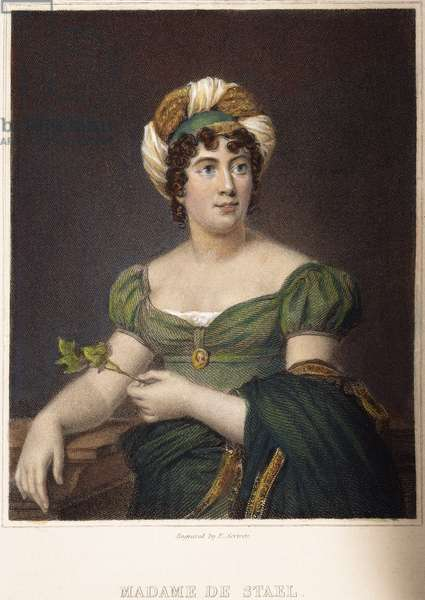 MADAME de STAEL (1766-1817) Anne-Louise-Germaine de Stael, nee Necker. French writer: steel engraving, English, 1836.