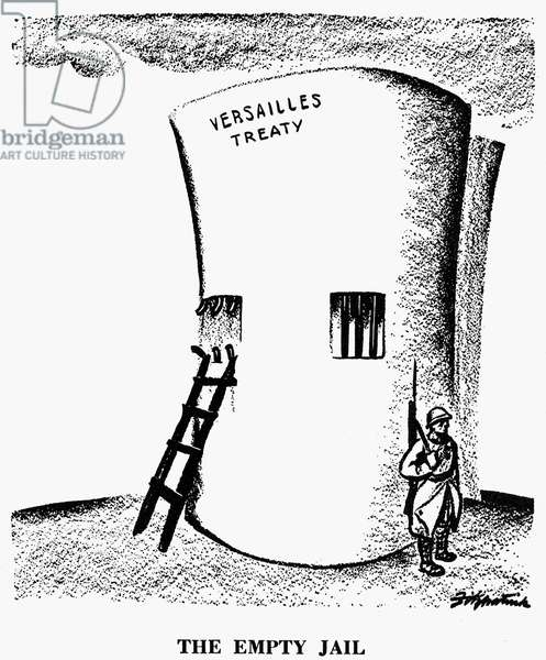 GERMANY: CARTOON, 1936 'The Empty Jail.' Cartoon by the American cartoonist, D.R. Fitzpatrick, on Germany's repudiation of the disarmament clauses of the Versailles Treaty.