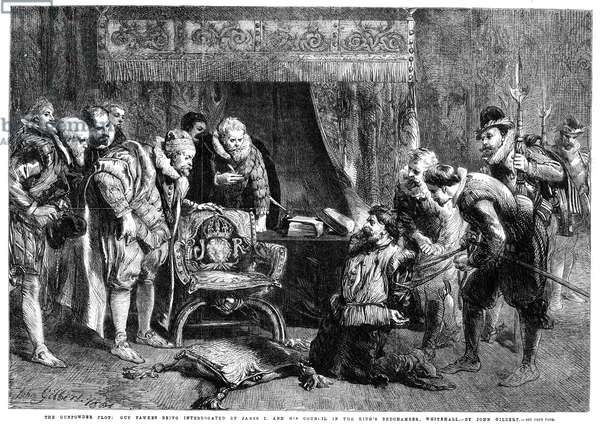 GUNPOWDER PLOT, 1605 Guy Fawkes (1570-1606) being interrogated by King James I and his council in the King's bedchamber at Whitehall, following discovery of the 'Gunpowder Plot' to blow up the Houses of Parliament, 5 November 1605. Wood engraving, 1861, after Sir John Gilbert.
