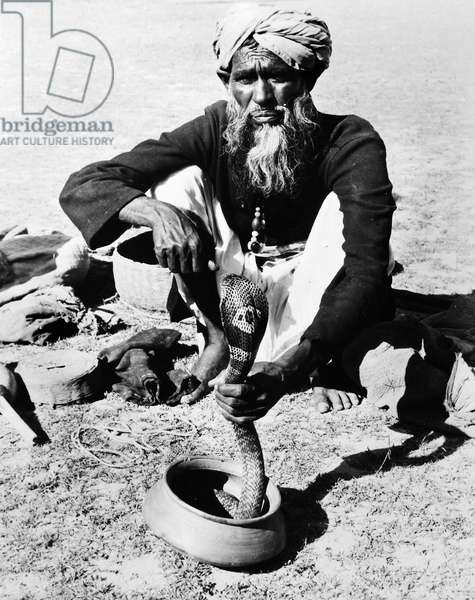 INDIA: SNAKE CHARMER, 1956 A snake charmer in India performing with a cobra. Photographed in 1956.