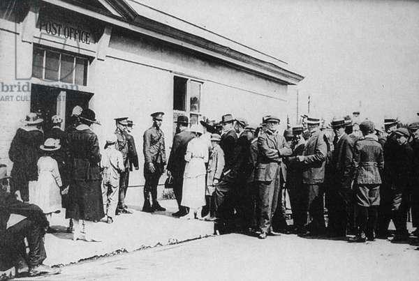 CANADA: MINERS STRIKE, 1919 Miners on strike in Calgary, Alberta, Canada, 1919.