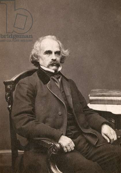 NATHANIEL HAWTHORNE (1804-1864). American writer. Original carte-de-visite photograph by Mathew Brady.