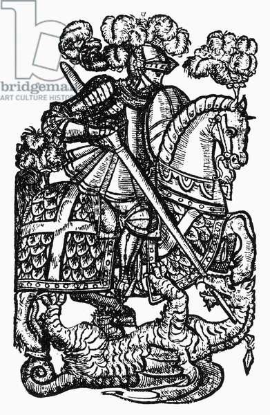 SAINT GEORGE AND DRAGON Saint George slaying the dragon. Woodcut.