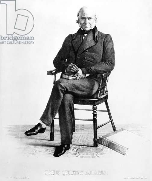 JOHN QUINCY ADAMS (1767-1848). Sixth President of the United States. Contemporary lithograph after a daguerreotype by P. Haas.