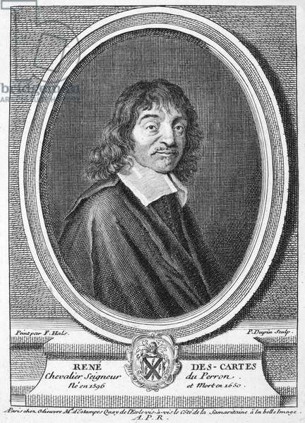 RENE DESCARTES (1596-1650) French mathematician and philosopher. Copper engraving, French, 18th century, after Frans Hals.