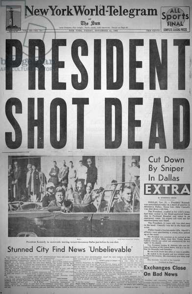 JOHN F. KENNEDY (1917-1963). 35th President of the United States. The front page of the 'New York World-Telegram,' 22 November 1963, announcing the assassination of President Kennedy.