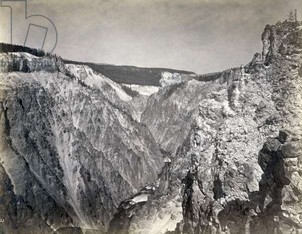 YELLOWSTONE: CANYON, 1871 A view of the Grand Canyon of the Yellowstone River, Wyoming. Photographed by William Henry Jackson, 1871.