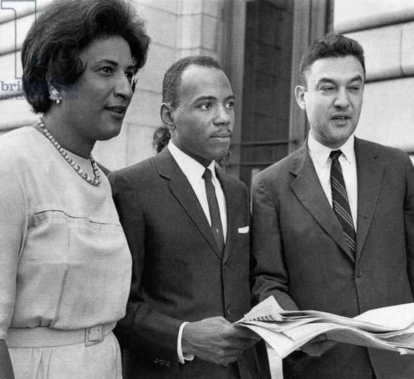 JAMES MEREDITH (1933- ) American civil rights leader. With his attorneys Constance Baker Motley and Jack Greenberg outside the Federal Court building in New Orleans, Louisiana. Photograph, 28 September 1962.