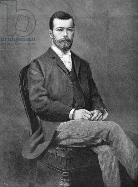 NICHOLAS II (1868-1918) Czar of Russia, 1894-1917. Engraving, 1894.