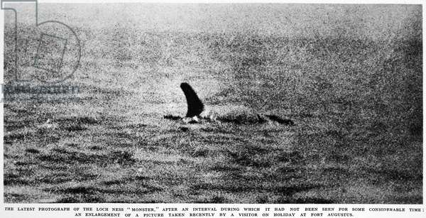 LOCH NESS MONSTER, 1934 Said to be the Loch Ness monster. Photographed by a tourist at Fort Augustus, Scotland in 1934. From a contemporary English newspaper.