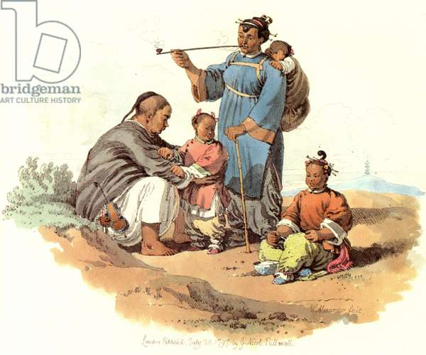 CHINA: PEASANT FAMILY, 1797 A peasant and his family, China: English lithograph, 1797, after a contemporary water-color by William Alexander.