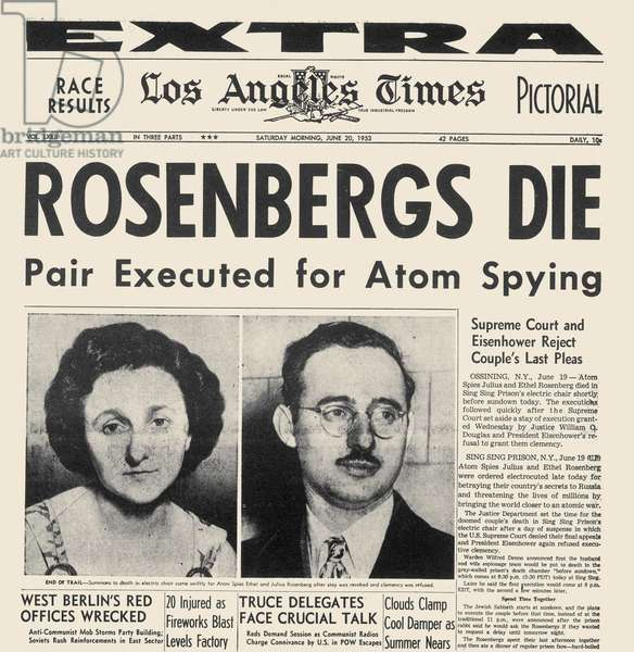 ROSENBERG EXECUTION, 1953 Headline from the Los Angeles Times, 20 June 1953, reporting the previous day's execution of Ethel and Julius Rosenberg for spying.