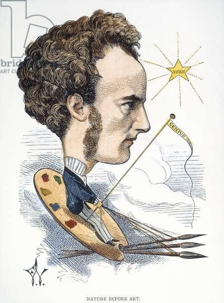 SIR JOHN EVERETT MILLAIS (1829-1896). English painter: caricature, 1872, by Frederick Waddy.