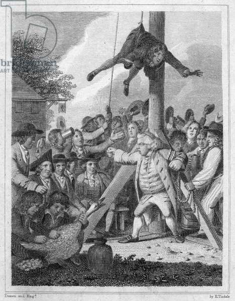 STAMP ACT, 1765 Stamp agent strung up on a Liberty Pole during an anti-Stamp Act demonstration in the American colonies in 1765. Line engraving by Elkanah Tisdale, c.1820, from an edition of John Trumbull's 'M'Fingal,' first published in 1775.