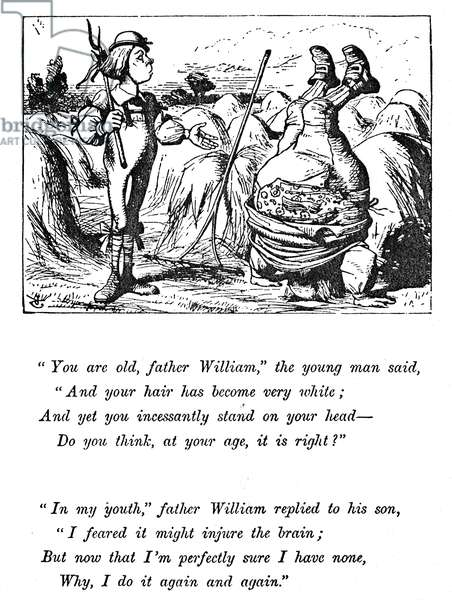 CARROLL: ALICE, 1865 'You are old, Father William' (Advice from a caterpillar). Illustration by Sir John Tenniel to the first edition of Lewis Carroll's 'Alice's Adventures in Wonderland,' 1865.