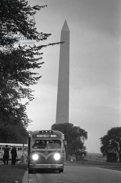 MARCH ON WASHINGTON, 1963 A bus leaving near the Washington Monument, after the March on Washington. Photograph by Marion S. Trikosko, 28 August 1963.