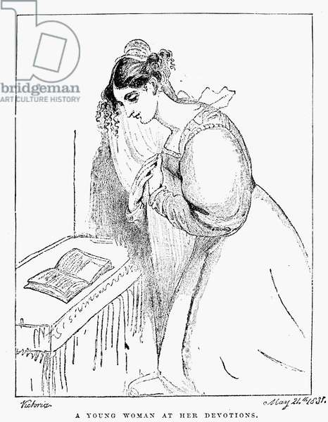 QUEEN VICTORIA: SKETCH 'A Young Woman at Her Devotions.' Sketch by Princess Victoria, 21 May 1831, drawn shortly before her twelfth birthday.