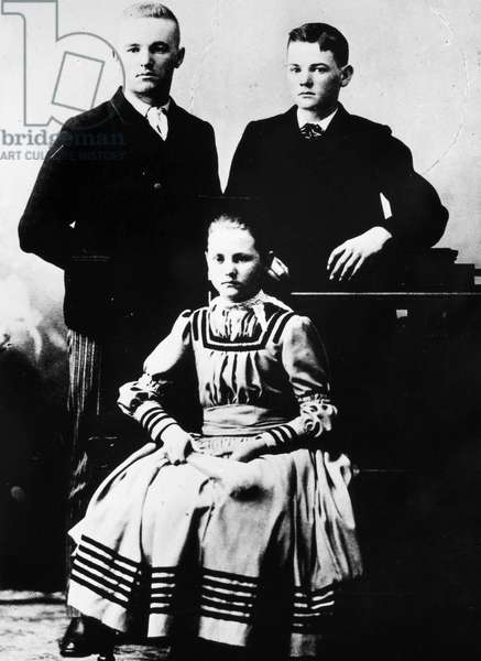 HERBERT HOOVER (1874-1964) 31st President of the United States. Hoover (right) as a child with his sister Mary and brother.