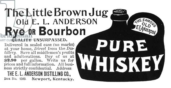 LITTLE BROWN JUG, 1894 The Little Brown Jug - Old E.L. Anderson Rye or Bourbon. American whiskey advertisement, 1894.