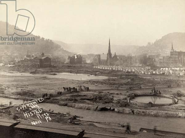 JOHNSTOWN FLOOD, 1889 A camp of relief corps in Johnstown, Pennsylvania, after the Johnstown Flood. Photograph by Ernest Walter Histed, 1889.