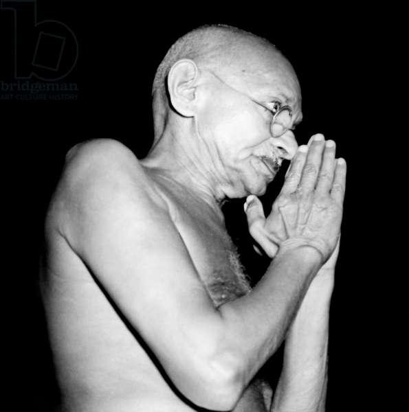 MOHANDAS GANDHI (1869-1948) Hindu nationalist and spiritual leader. Photograph, 1946.
