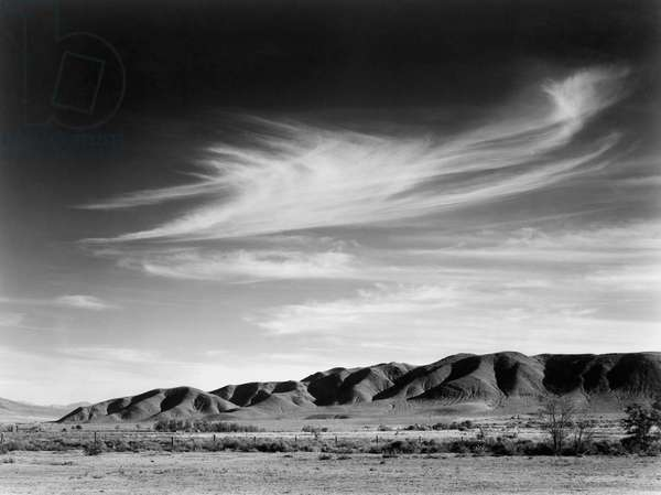 CALIFORNIA: OWENS VALLEY View south from the Manzanar Relocation Center for Japanese-Americans to the Alabama Hills at Owens Valley, California. Photograph by Ansel Adams, 1943.